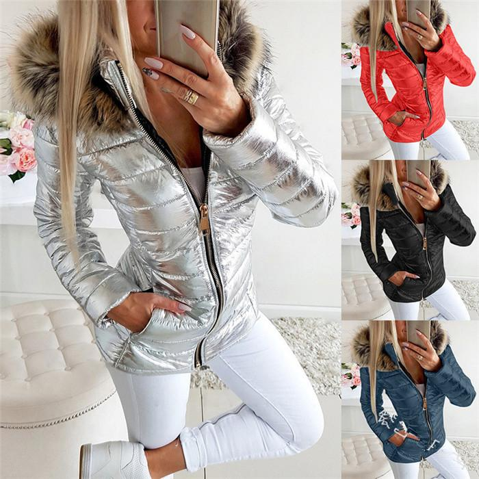 Plus Size Womens Jackets Winter Warm Fur Collar Glossy Outwear Clothing Loose Casual Women Zipper Coats