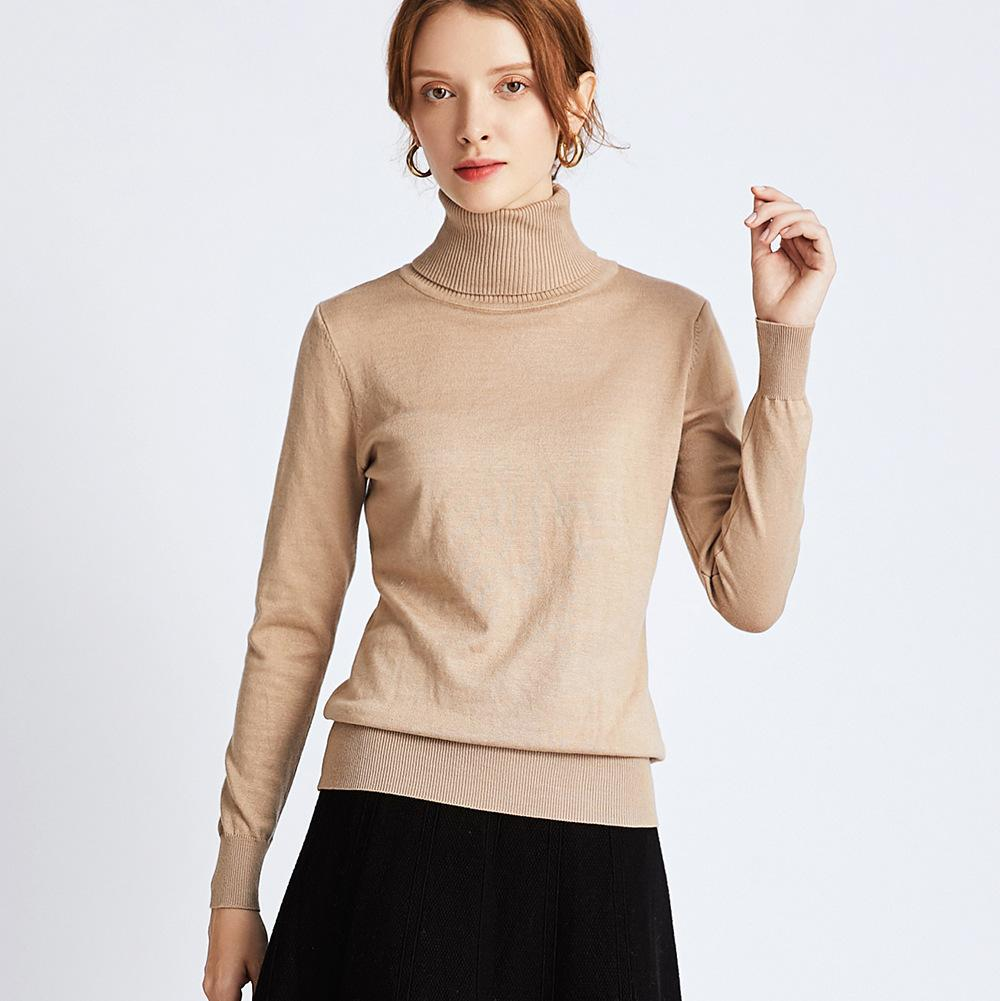 HLBCBG elegante otoño invierno suéter grueso jerseys mujeres manga larga casual cálido tortuga de tortuga de tortuga de tortuga femenina Punto de punto Top F1230