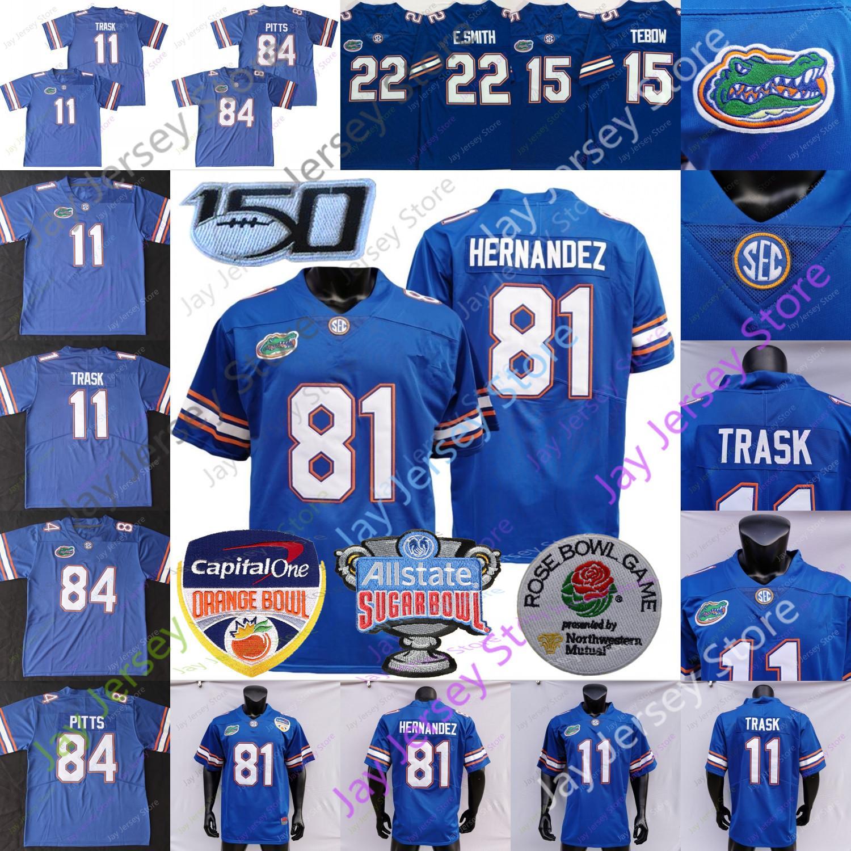 NCAA College Florida Jacarés Jersey 11 Kyle Trask 15 Tim Tebow 22 Emmitt Smith 81 Aaron Hernandez 84 Kyle Pitts