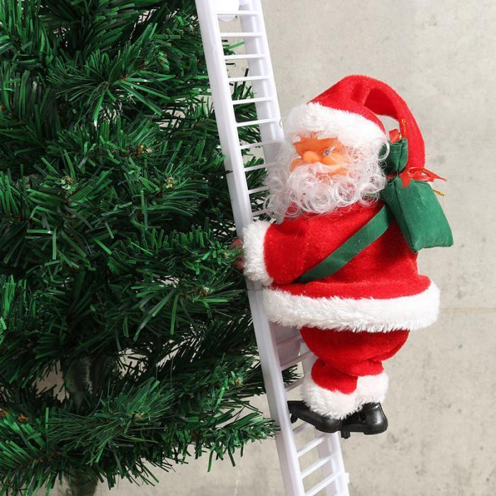 Noël électrique Santa Claus Escalade Échelle Poupée De Poupée Creative Noël Décor Kid Jouet Jouet Nouvel An Cadeau Arbre de Noël Arbre d'ornement suspendu