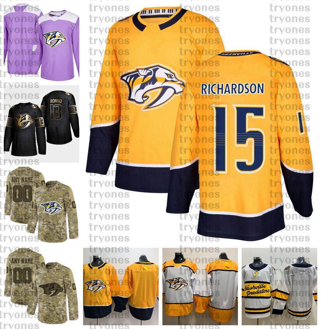 2021 Anpassen 15 Brad Richardson Nashville Predators Jerseys Golden Edition Camo Veteranen Tageskämpfe Krebs Custom genittelt Hockey-Trikots