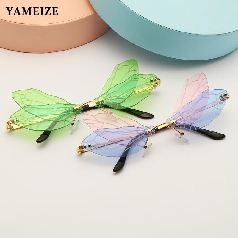 YAMISIZE Mode Randlose Sonnenbrille Frauen Libelle Flügelweinlese Klare Ozeanlinse Eyewear Steampunk Sonnenbrille Schattierungen UV400