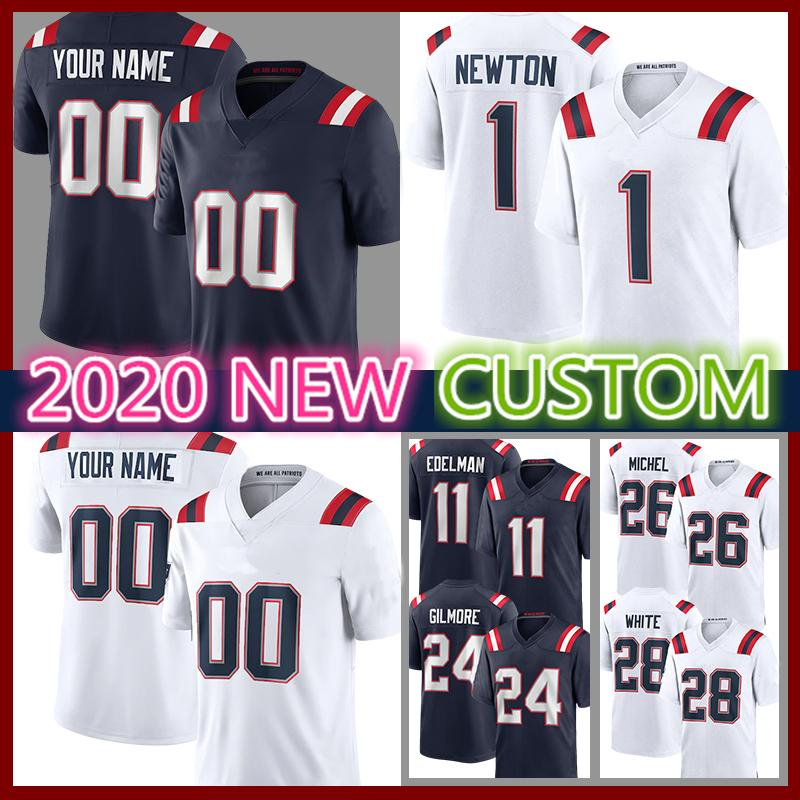35 Kyle Dugger 24 Stephon Gilmore Custom Football Jersey Dont'a Hightower Jarrett Stidham Matthew Slater Devin McCourty White Chase Winovich