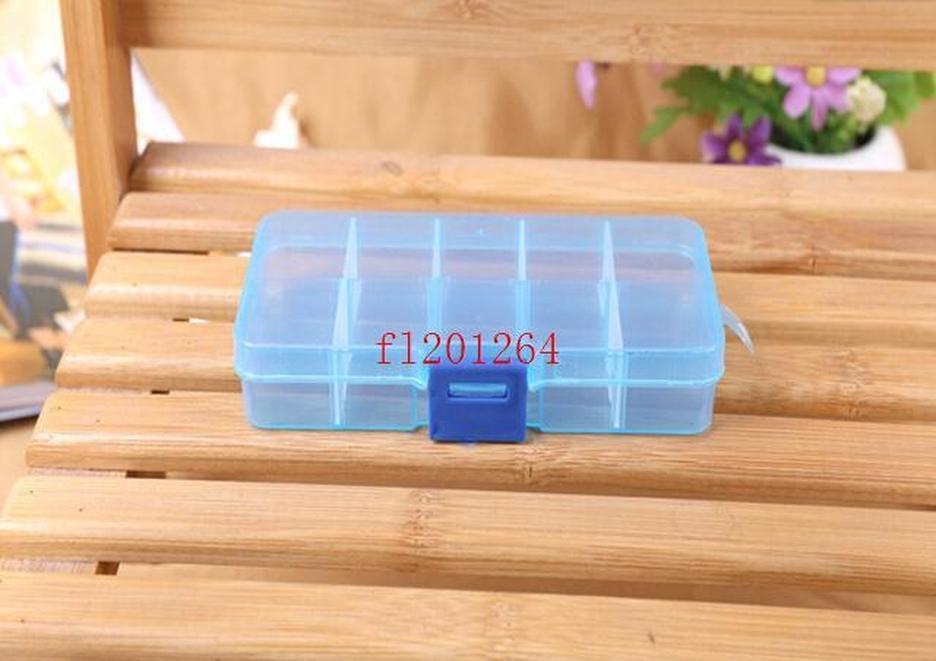 FedEx DHL Envío gratuito Ajustable 10 compartimento Caja de almacenamiento transparente de plástico para la herramienta Pendiente de la joyería Contacto BBYJGB YH_PACK