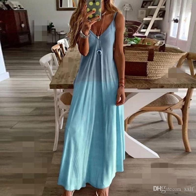 Neue Sling Kleid für Frauen Slim Long Kleid Damen Mode Farbverlauf Farbe Weibliche Freizeit Lose Strand Für Frauen