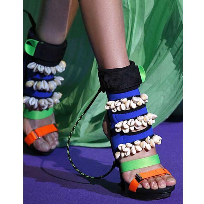 Botas misturadas cores sexy stiletto bombas de corrida sapatos shell design peep toe lingback gladiador sandálias mulheres plataforma de salto alto