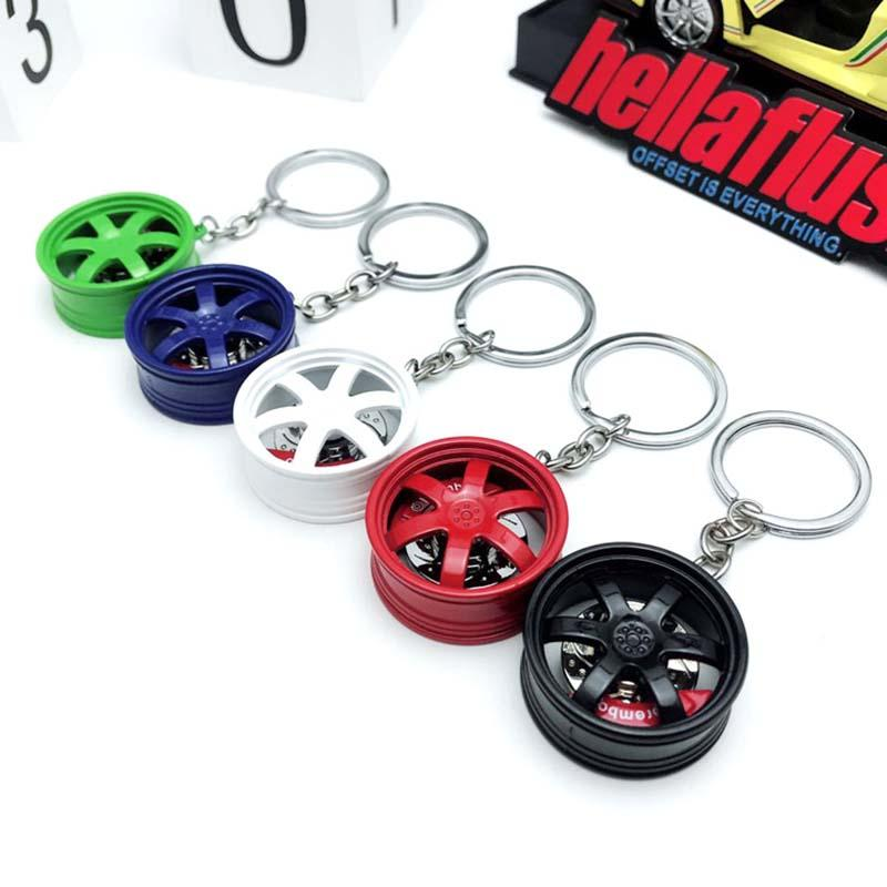 Creative Car Wheel Modified Key Chain Wheel Key Ring Pendant Modified Ring Auto Part Car Accessories Personality