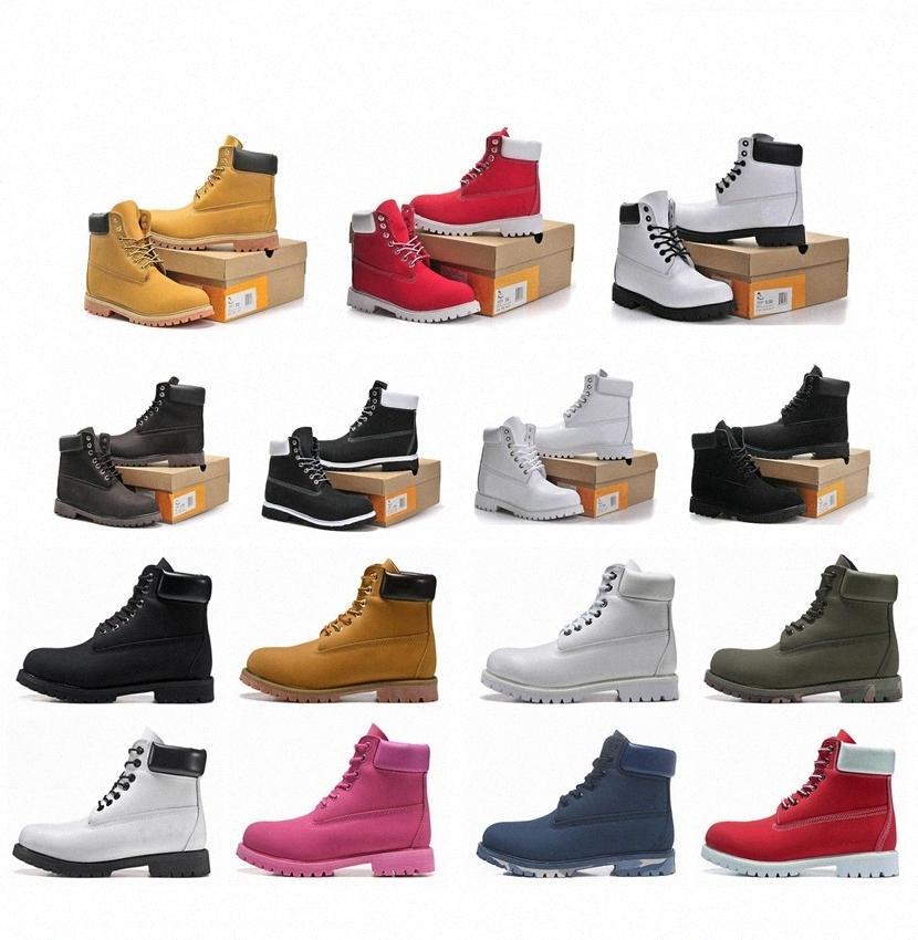 2021 Hommes Bottes Designer Mens Hommes Chaussures En Cuir Pour Femme Top Qualité Ankle Botte d'hiver pour Cowboy Bleu Jaune Bleu Noir Randonnée Randonnée 36-46 KVNB #
