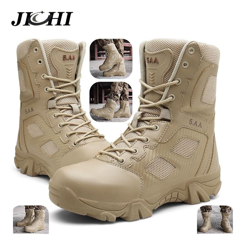Jichi Wüste Taktische Herrenstiefel Große Größe 47 Armee Stiefel Männer Tragen Widerstand Militärische Männer Kampf Ankle Stiefel Outdoor Wandern 201126