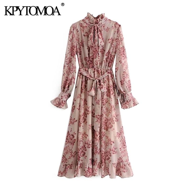 Vintage Floral Cópia Sashes Ruffled Vestido Plissado Mulheres Moda Bow Laço Colarinho Manga Longa Vestidos Casuais Vestidos Mujer 201204