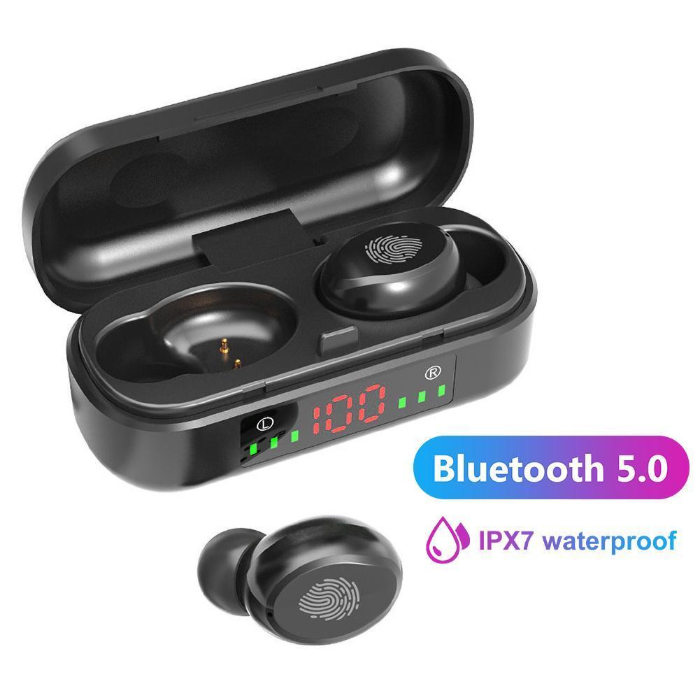العلامة التجارية الأزرق الأسنان سماعات V8 TWS شاشة LCD للماء اللاسلكية سماعة الرياضة سماعة الأذن تعمل باللمس التحكم في إلغاء الضوضاء