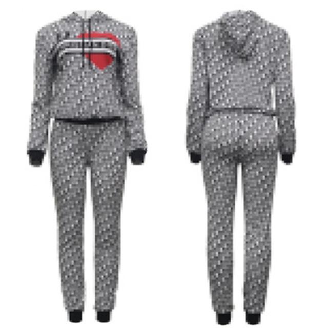 العلامة التجارية المرأة رياضية الخريف طويلة الأكمام هوديي مجموعات ملابس عارضة المرأة مصمم القلب طباعة اثنين من قطعة السراويل مجموعة