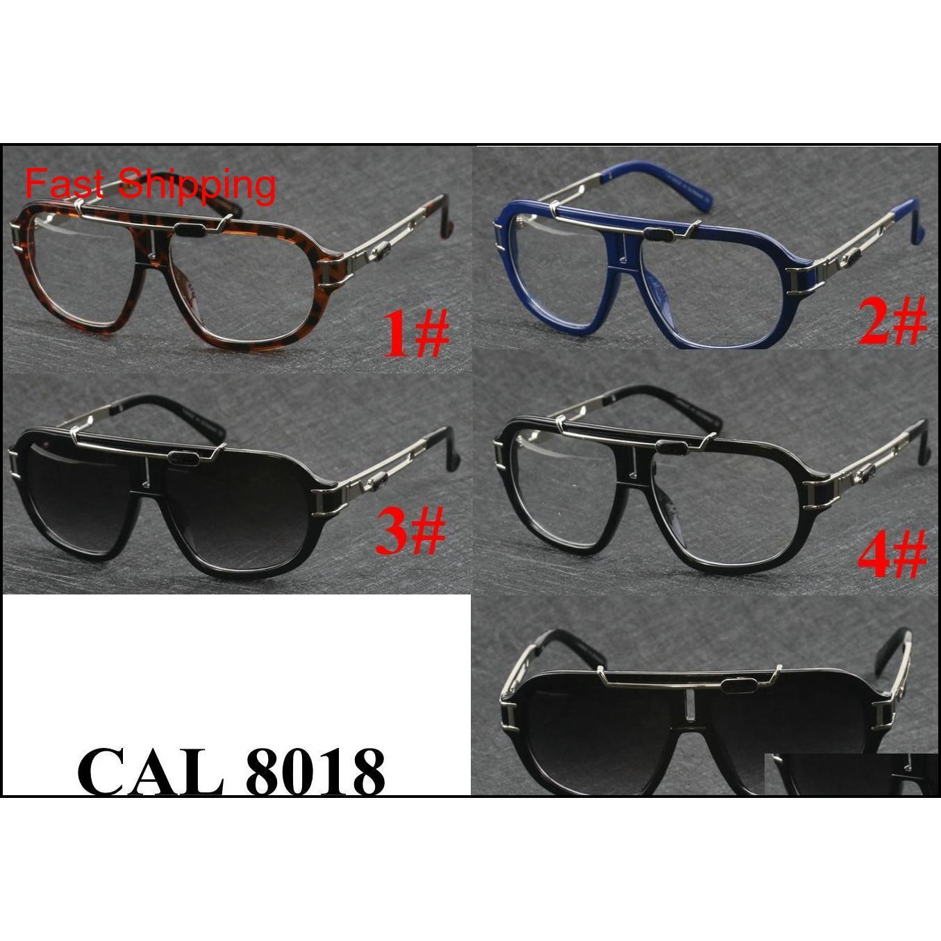 Moda Tasarımcısı Güneş Gözlüğü Kurbağa Ayna Rahat Güneş Gözlüğü Siyah Çerçeve Şeffaf Lens Gözlük Çerçevesi 8018 Güneş Gözlüğü Br Qylluu HOMES2007