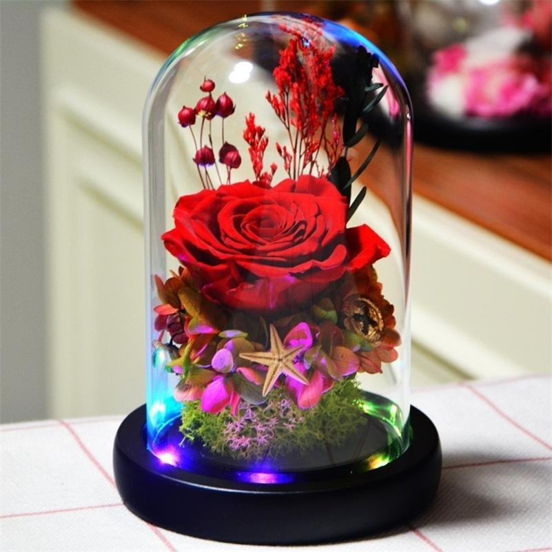 Светящиеся розовые вечные цветы роза в свадебные украшения цветы в стеклянной крышке для дня валентина рождественские подарок на день рождения 201127