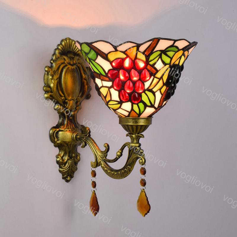 Wall Lamp Crystal Sunflower European Retro Grape Multicolor Glass Mirror Headlight E27 110-240V For Living Dining Room Bedroom Balcony DHL