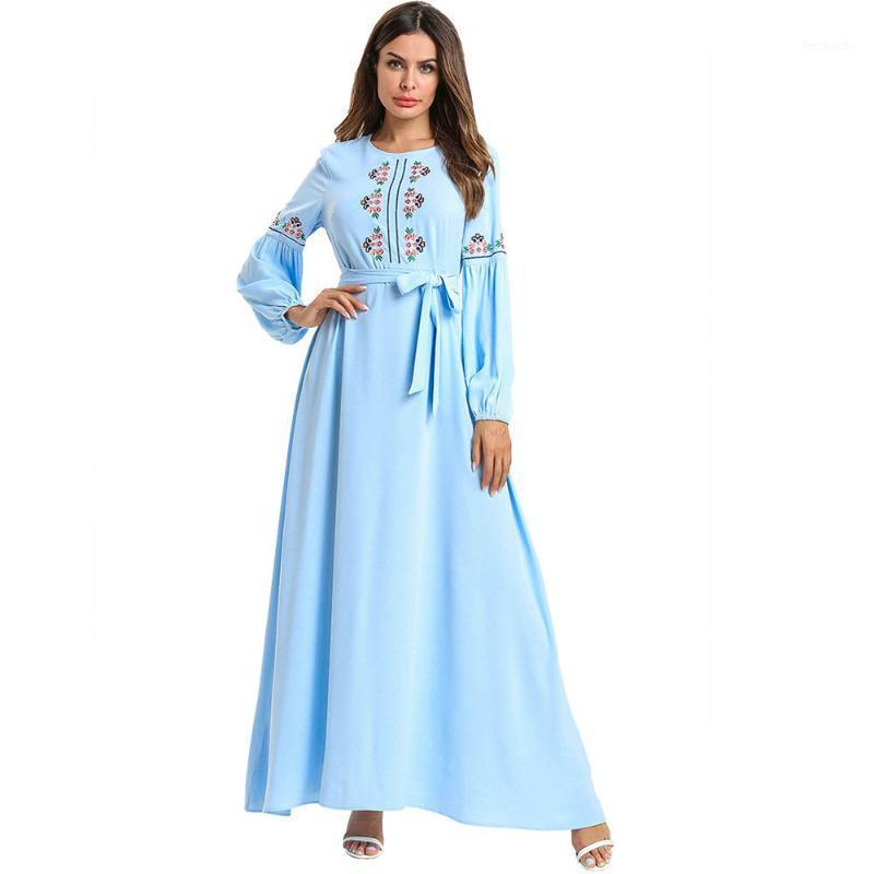 Lace-up-Muslim-Abaya-Kleid Frauen Big Swing A-line Blumenmorkaner Kaftan Hijab Kleider Türkei Dubai Kimono Islamische Kleidung1