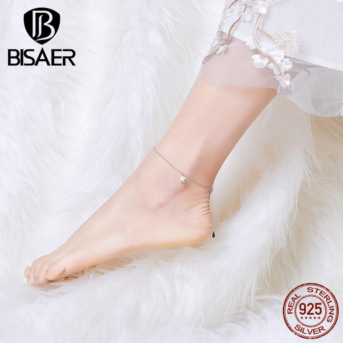 2020 Bisaer 925 Elegante Sternform Einfache Kette Frauen Fußklets Sterling Silber Schmuck ECT009