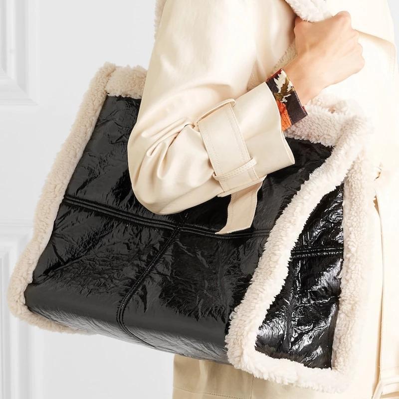 Fashion Lambswool Pu Patchwork Tote Women Handbags Luxury Leather Shoulder Large Capacity Shopper Big Purse Women's Bag Q1206
