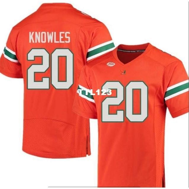 Billig Männer Miami Hurricanes Robert Knowles # 20 Echte vollständige Stickerei College-Jersey Größe S-4XL oder benutzerdefinierte Name oder Nummer Jersey