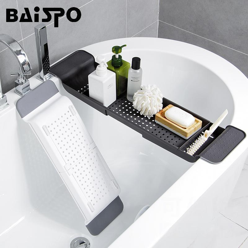 Baispo BackTable Retractible Bathtub Rack Bagno Drain Shelf Kitchen Sorage Rack Accessori da bagno multifunzione Set