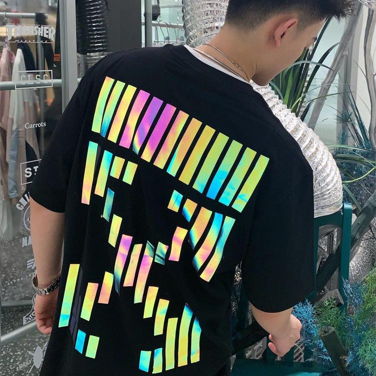 Новый модный бренд стрелка от семи цветов Светоотражающие летние мужские и женские любовники с коротким рукавом вокруг шеи хлопок хлопок T-Shirtrn1h