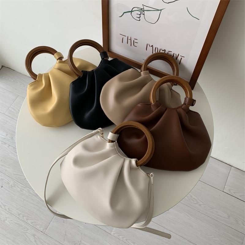 Maniglia borse tote tote top-handle femmina pieghettata in legno 2020 sacchetto di design a croce borse da donna borsa borsa a tracolla wldii