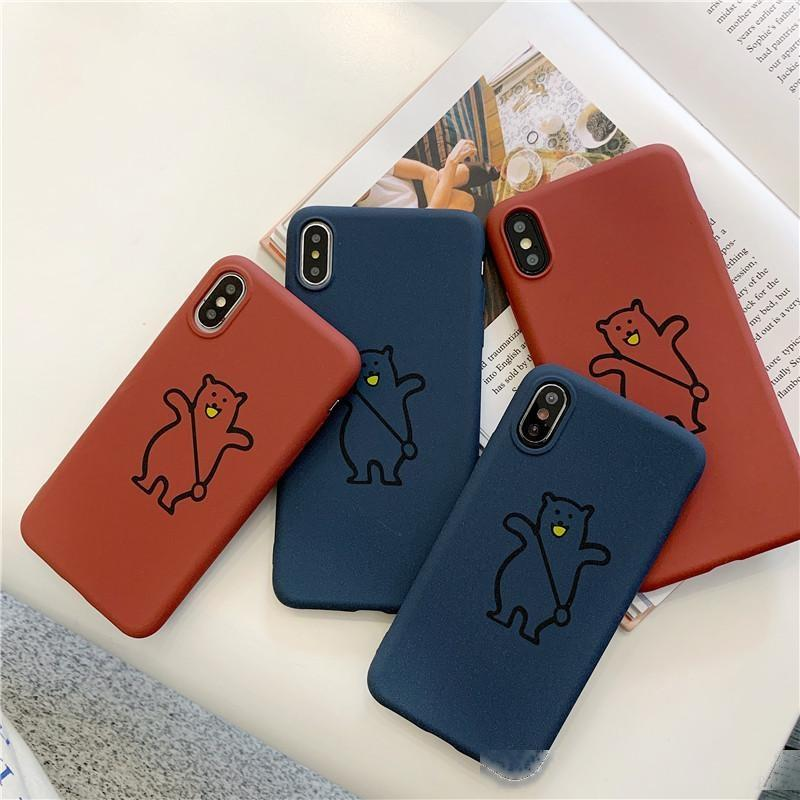 Backpack Bear Matte Case para iphone xs x xr 11 pro max capa macia para iphone xs coque para tpu iphone 6 6 s mais 7 8 caso atacado