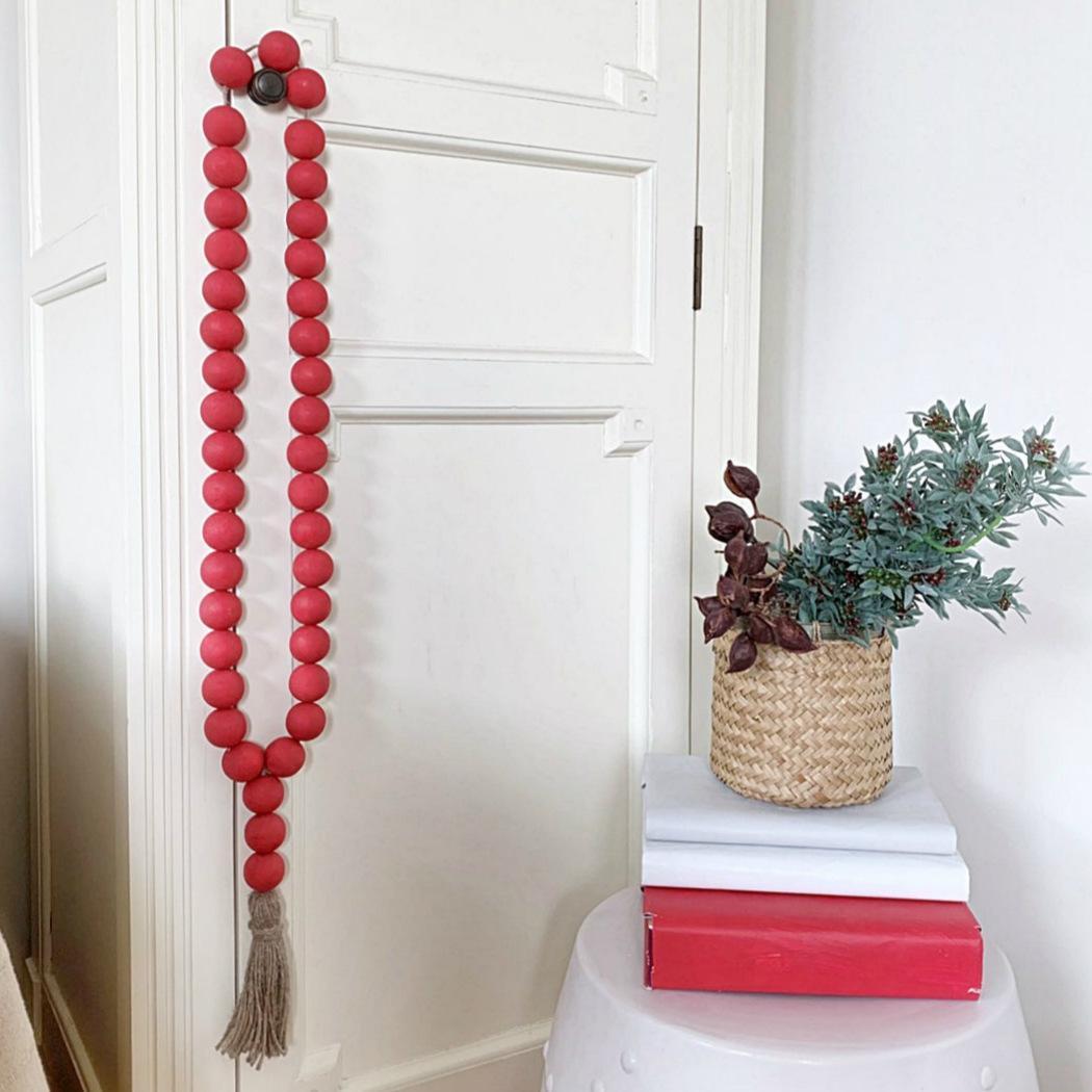 Natural de madeira cordão com festão de borla Northern Europe Berçário Decoração Home Decoração de Madeira Decoração Z2045