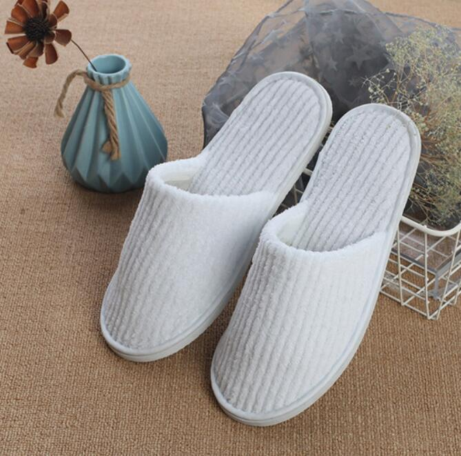 Disposable Slippers Coral Fleece Anti-slip Home Guest Shoes Thicken Travel Hotel White Supply Soft Delicate Disposable Slippers GWC4097