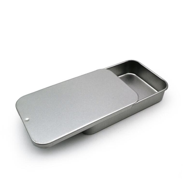 Caixa de embalagem da caixa de lata de deslizamento branco caixas de embalagem de alimento caixas de metal pequeno tamanho 80x50x15mm gwd3285