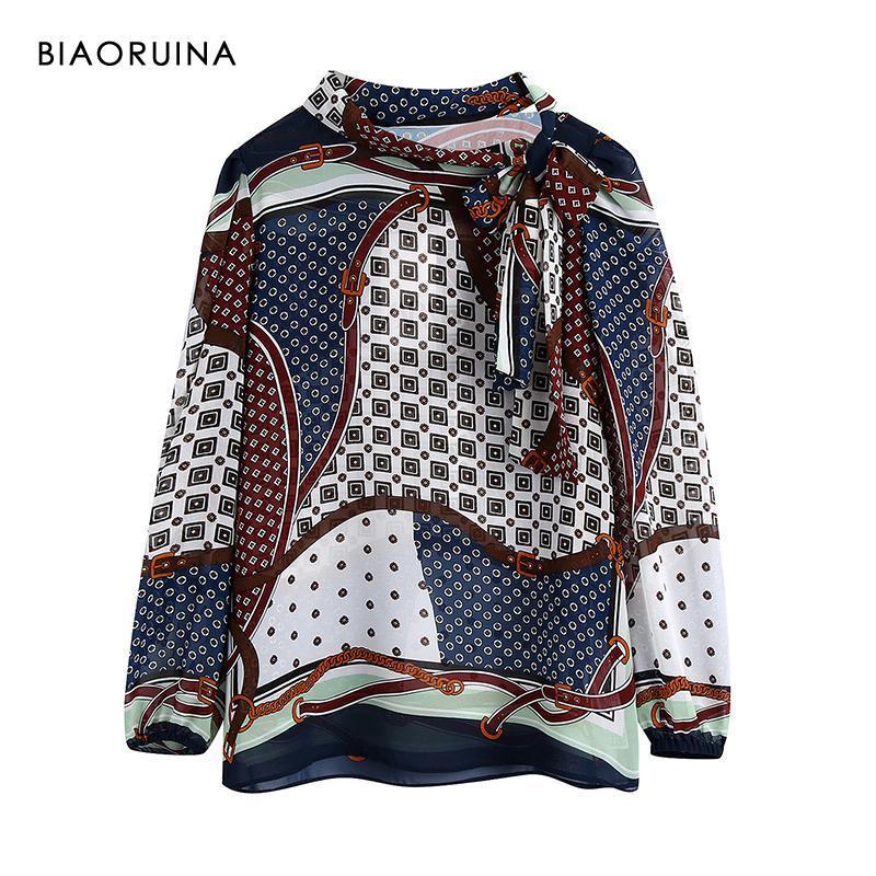 Kadın Bluzlar Gömlek Biaoruina Baskılı Gevşek Moda Gömlek Yay Yaka Uzun Kollu Kadın İlkbahar Sonbahar Tatlı Bluz Varış Tops
