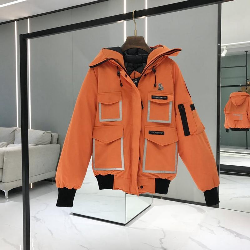 Canada Goose Down Jacket Coat Hooded Standing Stretch Collar Short Front Long Back Thick Warm Winter Coats White Duck Parka Overcoat