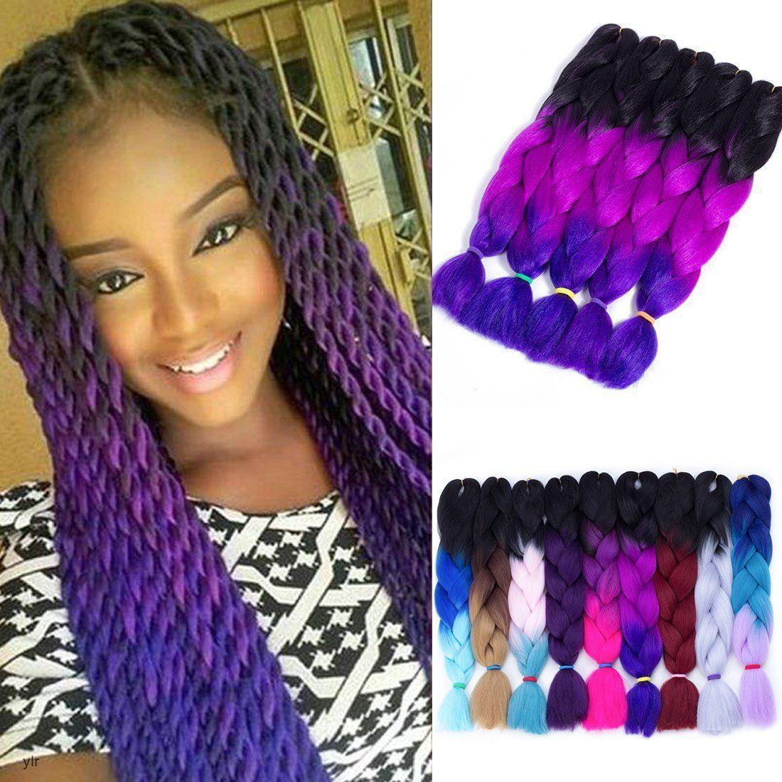 OMBRE три два смесиные цвета Канекалон плетеные синтетические джамбо расширения 24 дюйма вязаные крючком оплетки волос оптом оптом цена
