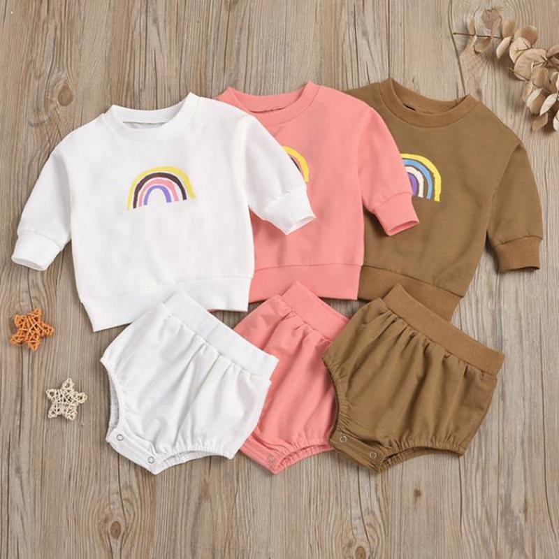 Diseñador Ropa de bebé Conjunto Niñas Arco iris Tops Shorts 2pcs Conjuntos de manga larga Boys Trajes Baby Boutique Ropa 3 Colores DW6092