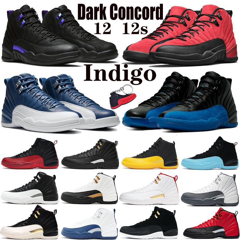 12 12'ler Erkekler Basketbol Ayakkabıları Siyah Koyu Concord Üniversitesi Altın Ters Grip oyunu Beyaz Koyu Gri Indigo CNY Spor Erkek Sneakers
