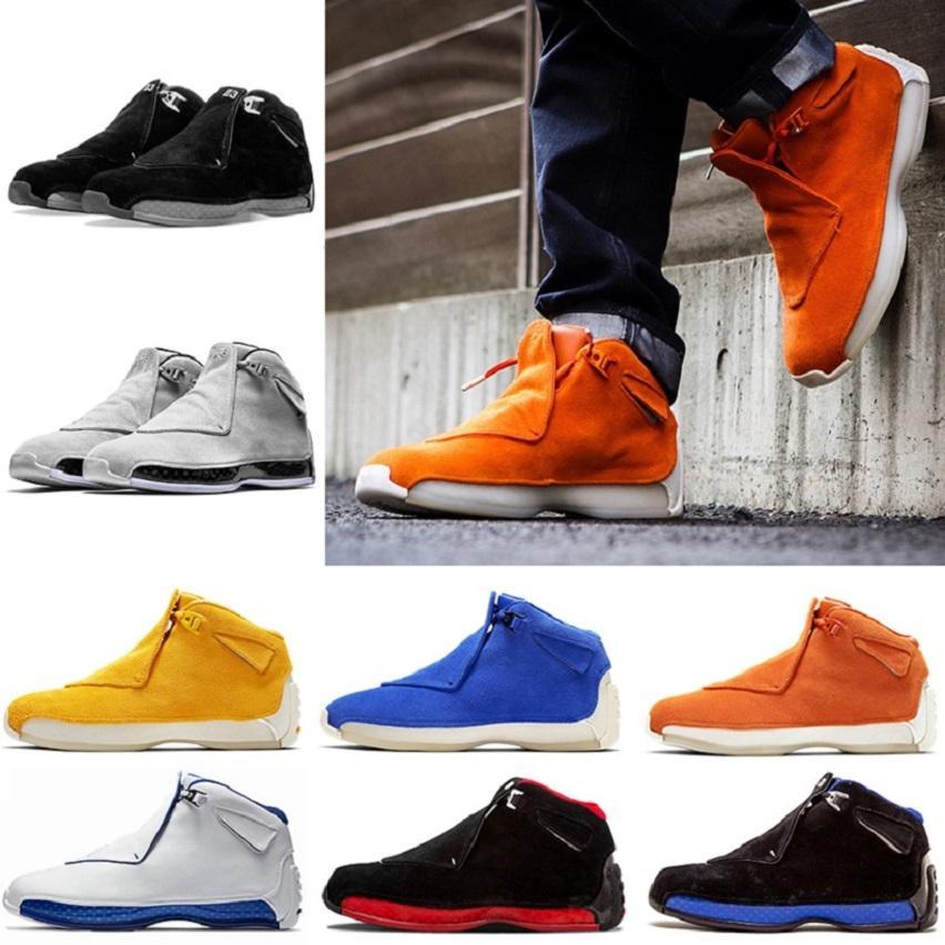 Moda 18 Toro Black Royal Uomo Scarpe da basket Cool Grey Definizione Momenti Arancione Suede in pelle scamosciata 18s formatori Scarpe da ginnastica sportive US8-13