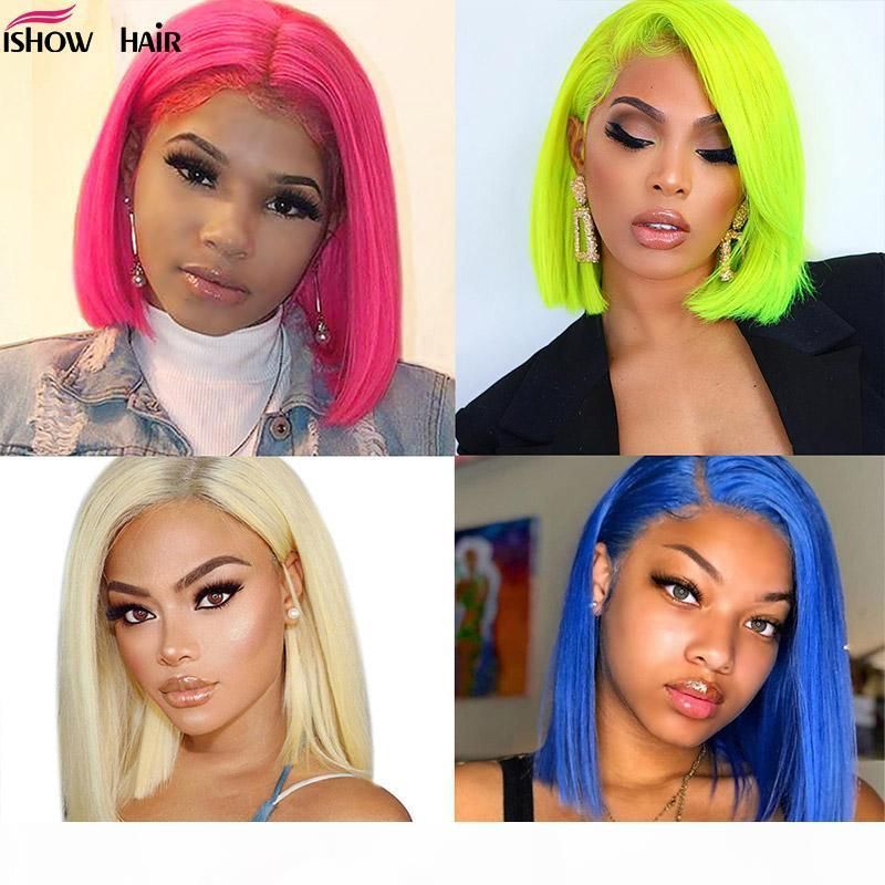 613 Straight Bob Wig 13X4 Short Lace Front Human Hair Wigs For Women 150% Pink Blue Blonde Malaysian Straight Lace Front Wig