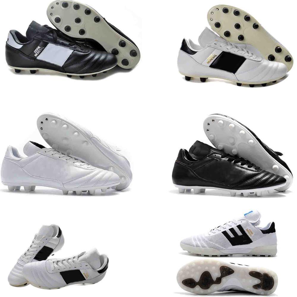 COPA Mundial Deri Erkek FG Futbol Cleats Chaussures De Ayak Chaussures De Futbol Çizmeler Siyah Beyaz Turuncu Botines Futbol Taquets Ayakkabı