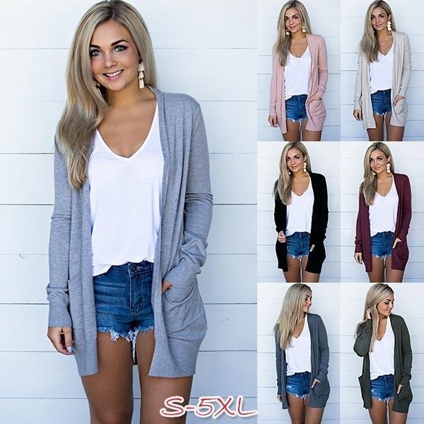 5Colour S-5XL 2021 새로운 여성의 섹시하고 유행 주머니가 카디건 재킷을 만나는 여러 가지 빛깔의 멀티 사이즈 탑 셔츠 19608463194092