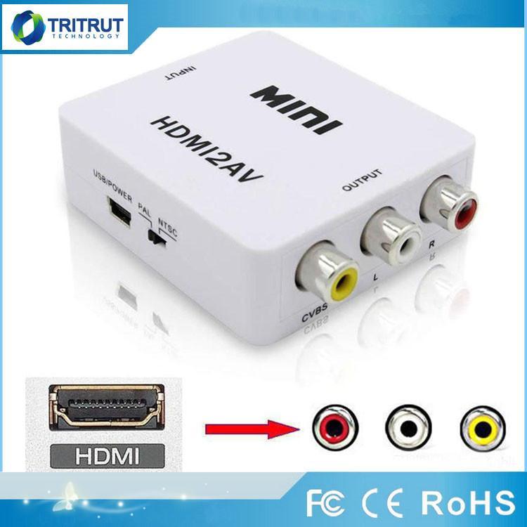 HDMI2AV 1080P HD محول الفيديو مصغرة HDMI لتحويل AV CVBS + L / R RCA دعم NTSC PAL ل Xbox 360 PS3 PC360 Phone Computer PC مع تغليف التجزئة