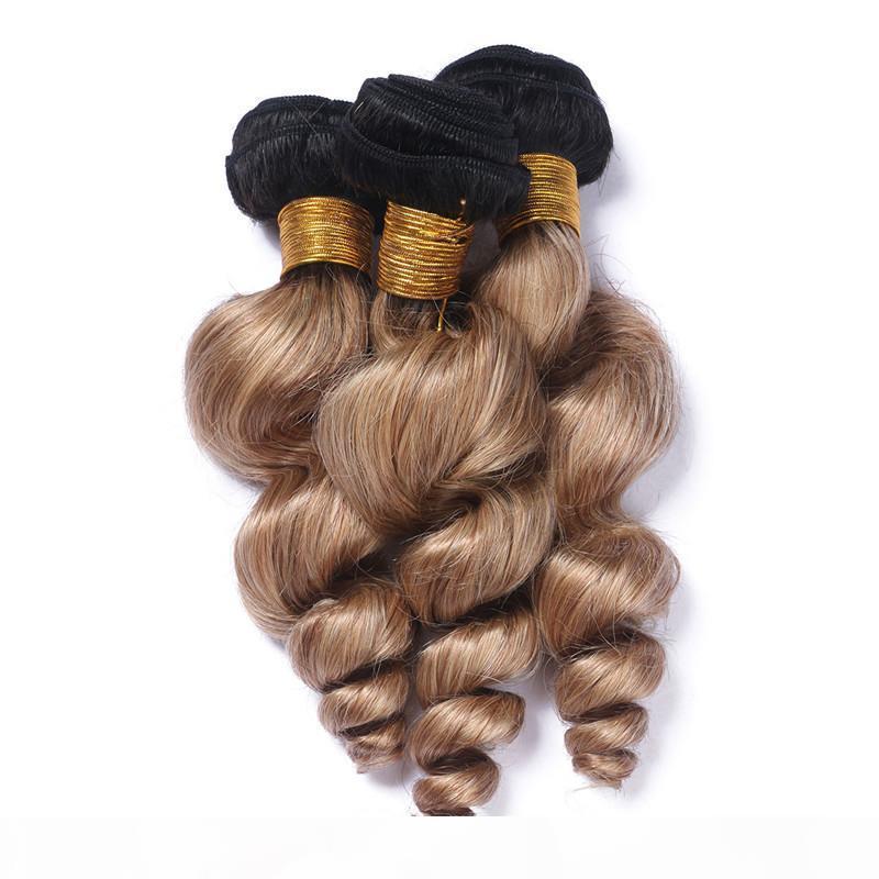 # 1b 27 mel loira ombre brasileiro virgem cabelo humano tecer extensões losoe onda ondulado 3 pcs luz marrom ombre ombre cabelo humano pacotes acordos