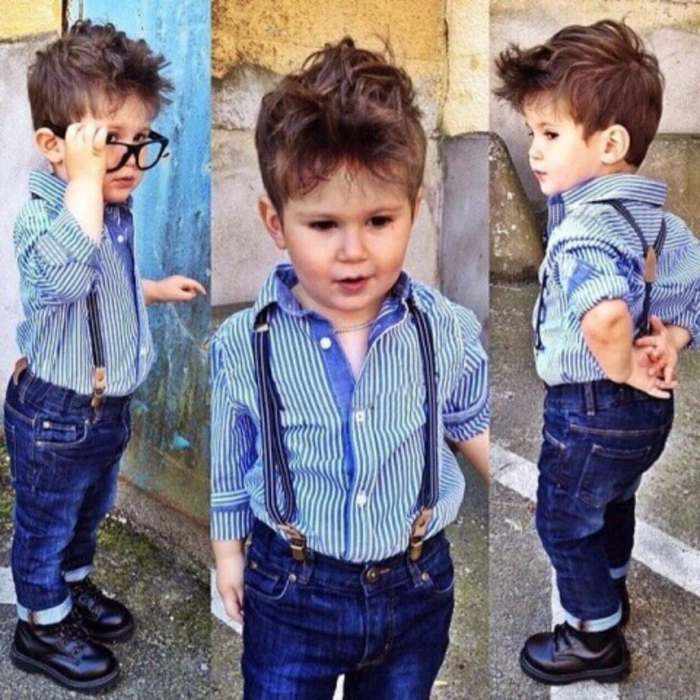 E filhos conjunto Europena American Estilo azul camisa de listra e suspender calças de brim calças menino manga comprida dois pedaços