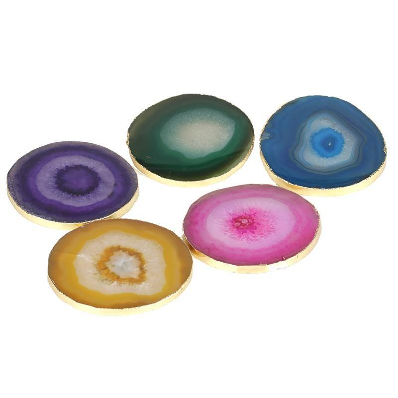 Fermé rond vert coloré jaune bleu rose onyx pierre tranche de bijoux d'affichage de bijoux pour la coupe de boissons décor à la maison 2021