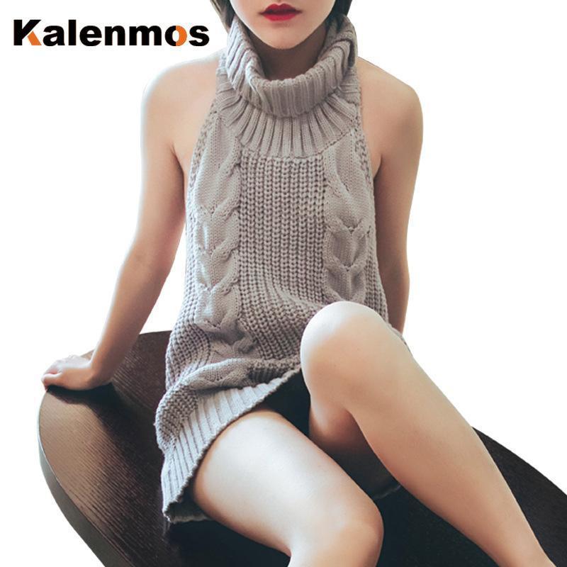 Женские жилеты Sexy Turtleeneck свитер Женщины Холтер без рукавов пуловер вязание нижние вершины осень зима шнурок тощий тонкий вязаный свитер