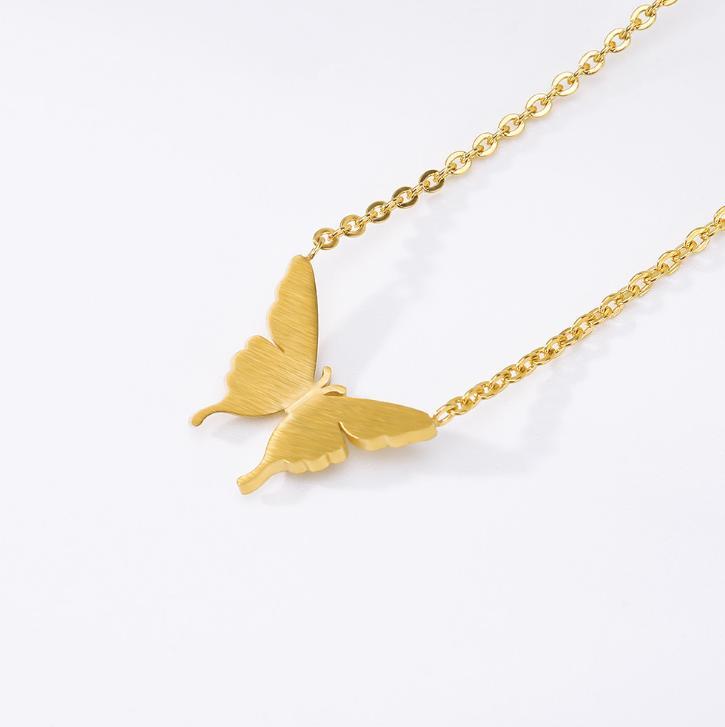 Oro hermoso mariposa diseño collar colgante elegante moda mujer joyería regalo regalos