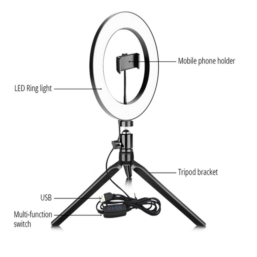 BLOOMVEG 26CM 10'' Dimmable lighting Led Desktop Live Broadcast Ring Fill Light With Tripod Stand Cell Phone Holder