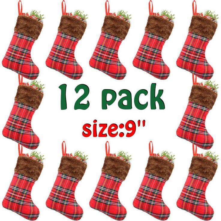 12 pcs / pacote de natal meia ornamento de árvore xmas para decoração de casamento decoração de casas pingente crianças presente de natal sacos de doces owb3281