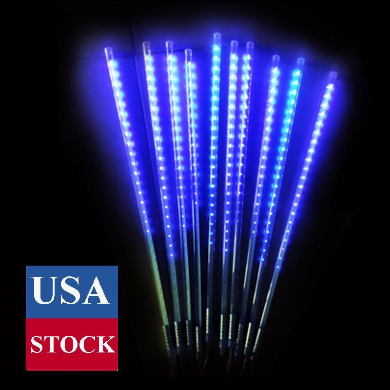 , Su geçirmez Bırak / Icicle Kar Düğün Noel Bahçe Ağacı için Dize ışıkları Falling 50cm 10 Spiral Borular 480 LED Yağmur Lights Duş meteor