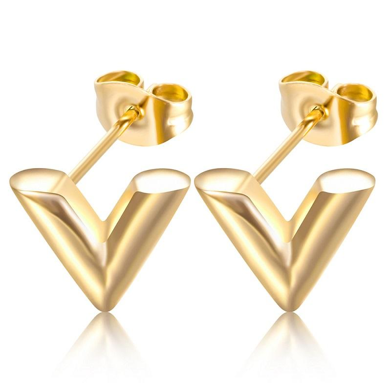 Hip Hop V Pattern Stud Earrings for Women Men Exquisite Stereoscopic Vintage Stainless Steel Letter Earring Piercing Punk Jewelry Christmas