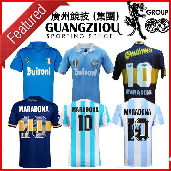 Argentine 1986 1987 1988 1999 Napoli rétro Soccer Jerseys Boca 1995 Juniors 87 88 89 91 93 Chemises de football Spécial Napoli Maradona